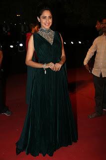 Pragya Jaiswal Mersmerizing Backless Glittering Velvet Designer Green Gown at Gemini puraskaralu presentation event