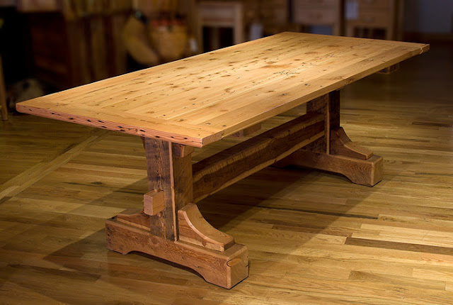 Wood Planed Top Dining Table