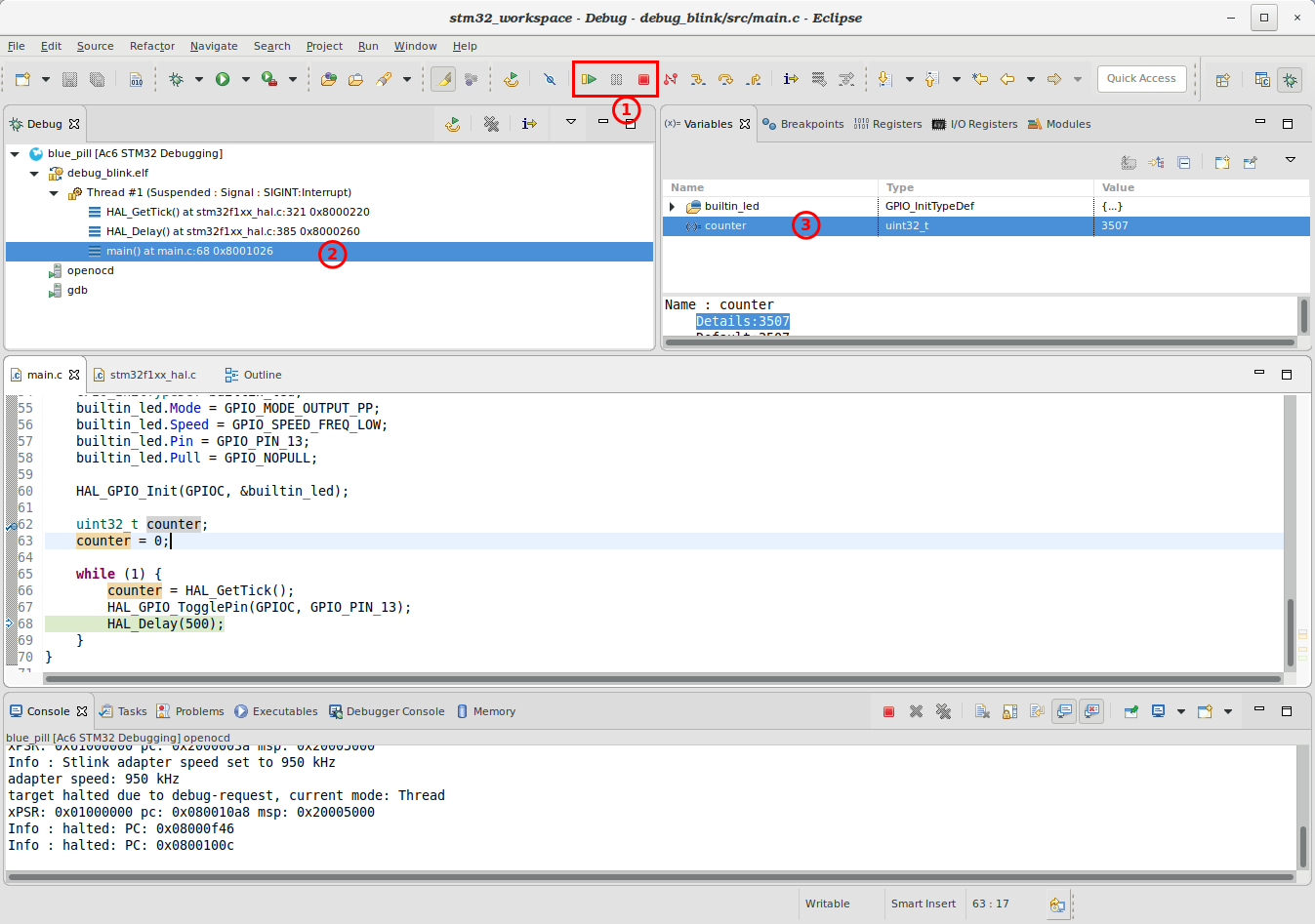 Upload binary and debug STM32 bluepill on Eclipse · One