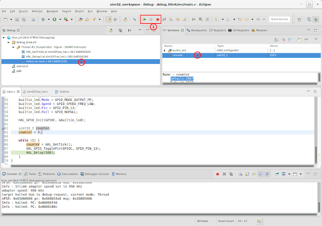 Debug perspective in Eclipse/SW4STM32