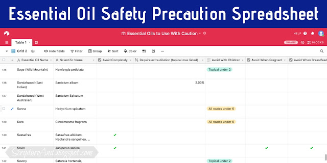 Essential Oil Safety Precaution Spreadsheet | scriptureand.blogspot.com