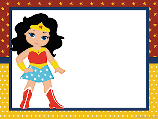 Wonder Woman Chibi Free Printable Invitations, Labels or Cards.
