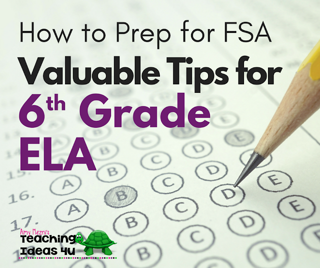 How to Prep for FSA: Valuable Tips for 6th Grade ELA - This post unpacks the 6th grade ELA FSA test and standards and discusses which concepts to focus on during your test review.