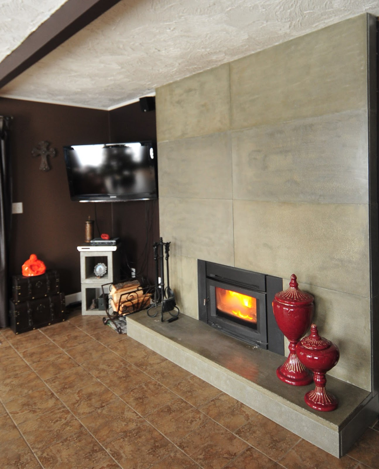 Mode concrete easily update and modernize your fireplace - How to make a brick fireplace look modern ...