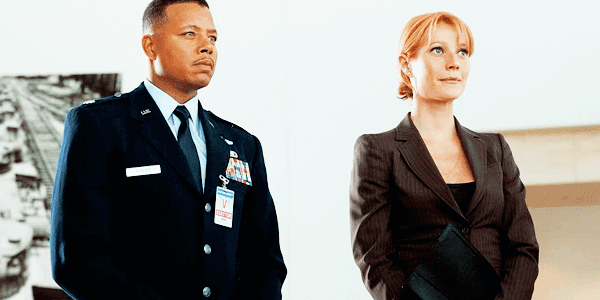 Pepper Potts, interpretado por Gwyneth Paltrow y James Rhodes, interpretado por Terrence Howard en Iron Man 1