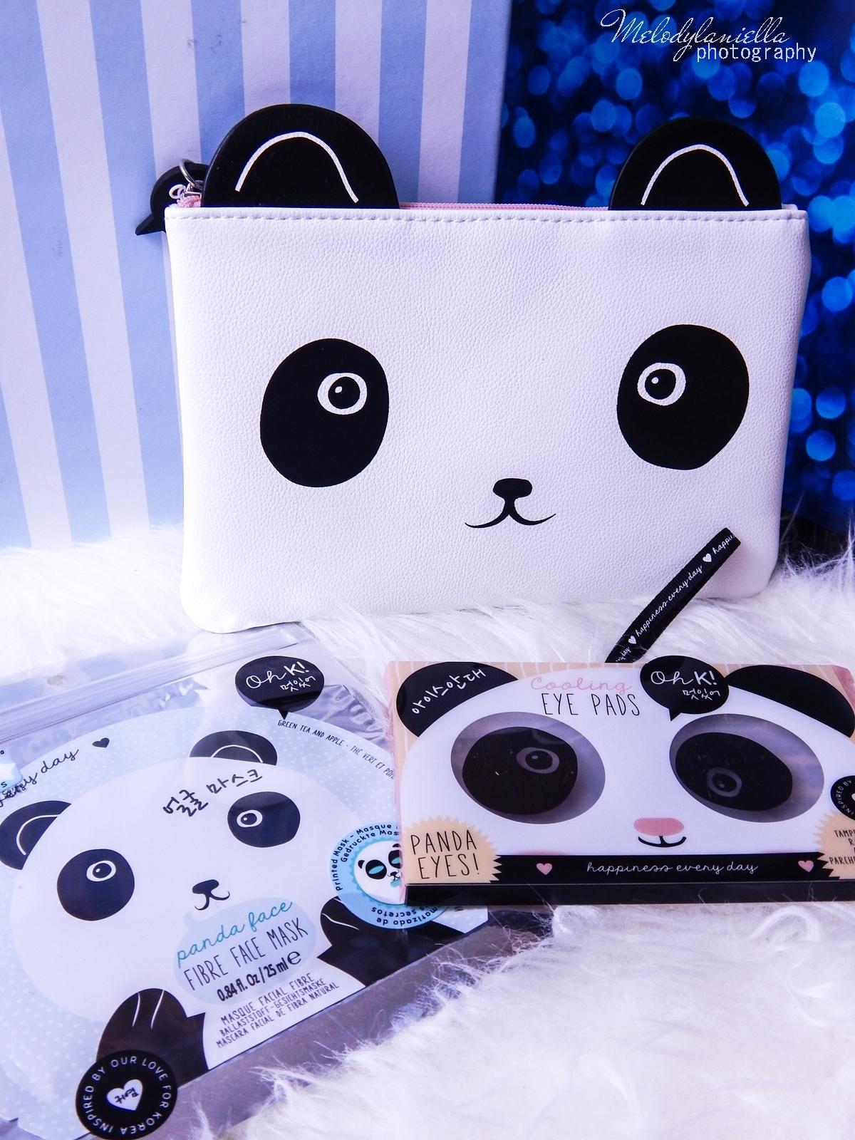 18 Oh! K Life koreańskie kosmetyki i gadżety słodkie dziewczęce dodatki maska do twarzy panda kosmetyczka w kształcie pandy lodowe płatki chłodzące okłady na oczy przeciw sińcom jak pozbyć się sińców pod oczami