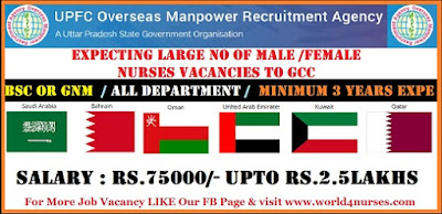 Expecting large no of NURSES vacancies to GCC. Apply now through UPFC ( Recruitment agency under govt of UP)