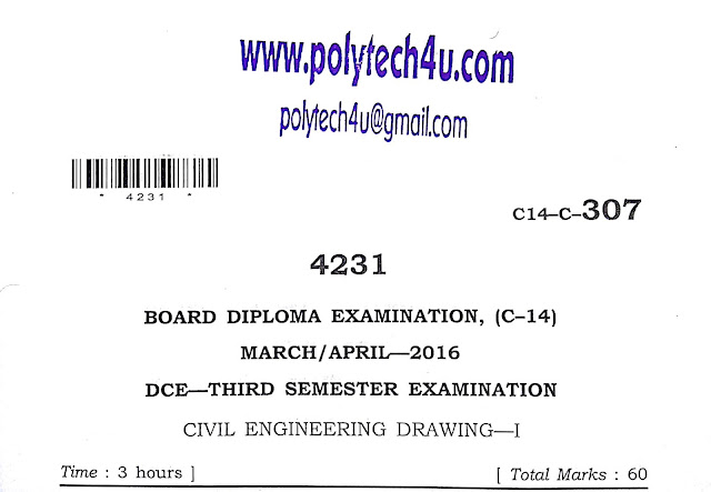 POLYTECHNIC CIVIL ENGINEERING DRAWING-1 OLD QUESTION PAPER 2016