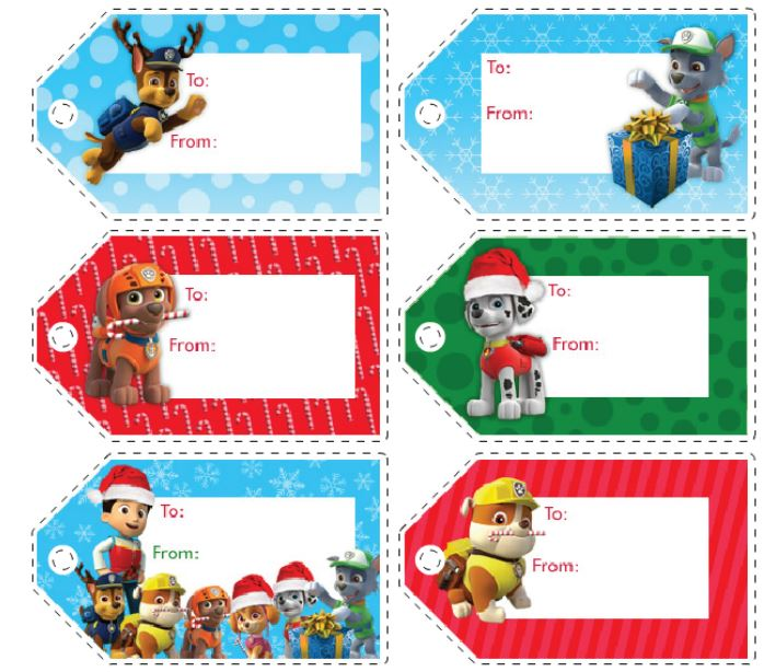Paw Patrol: Free Printable Christmas Tags.   Is it for PARTIES? Is it ...