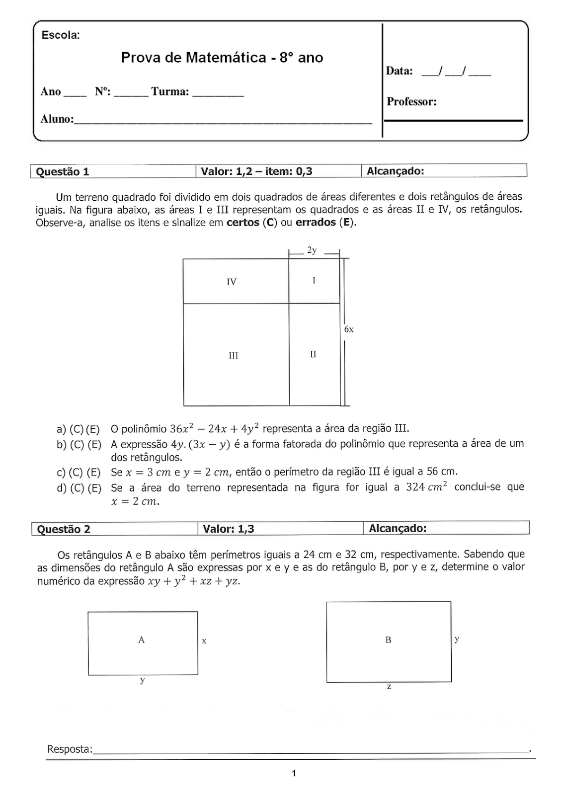 Portal Escola Matematica 8 Ano 190 Atividades Com Gabarito Exercicios Provas Avaliacoes Vi