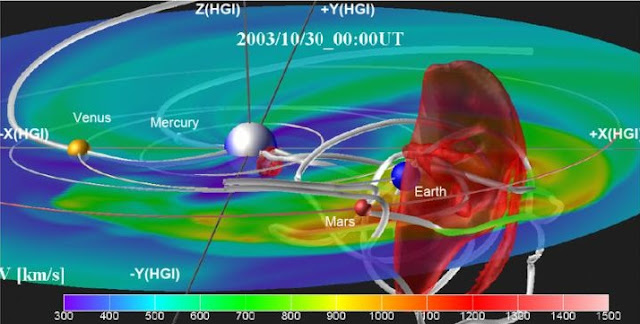 A coronal mass ejection event showing a representation of the flux rope anchored at the sun and the propagation of the magnetic flux rope through space toward Earth. The white shaded lines indicate the magnetic field lines. Red shade indicates high speed stream in the front of the CME. Credit: Nagoya University
