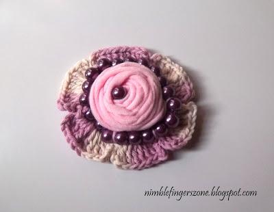 Fabric Brooch with crochet -- nimblefingerszone