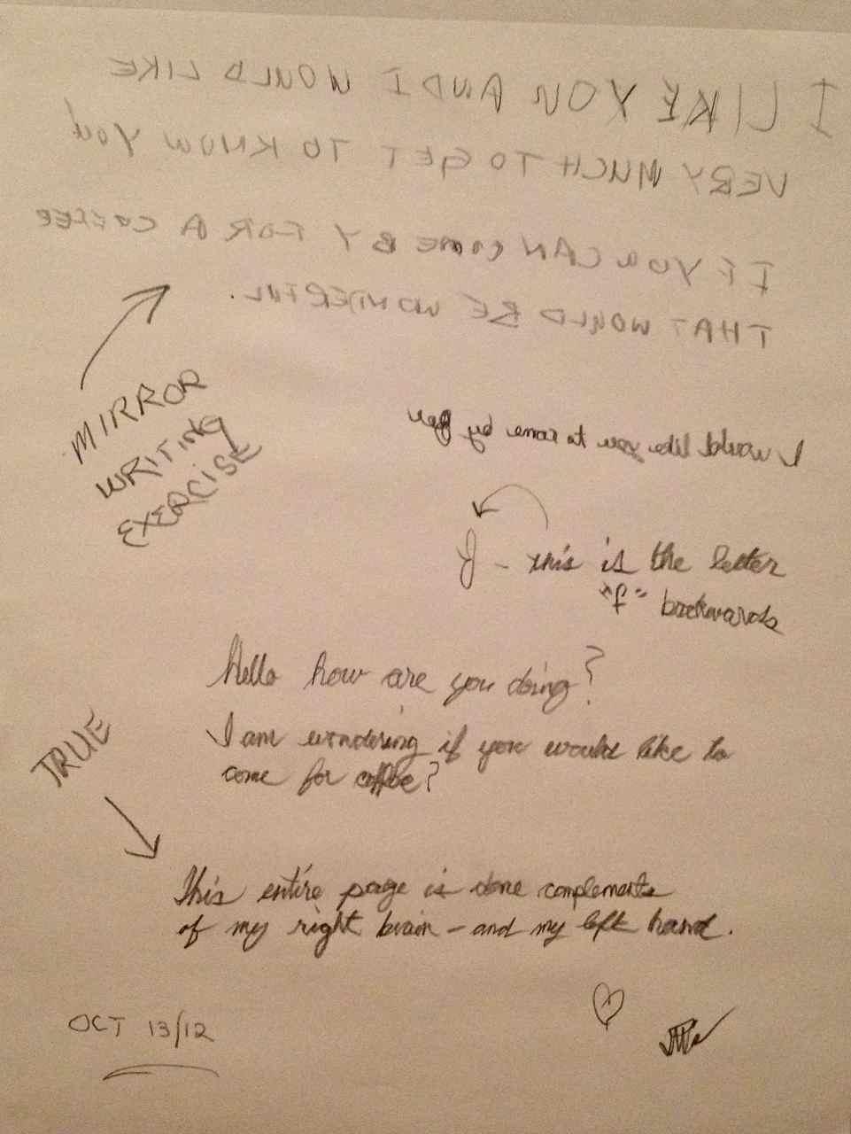 Mirror writing creativity