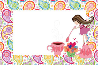 Para hacer invitaciones, tarjetas, marcos de fotos o etiquetas, para imprimir gratis de Fiesta de Té de Chicas.