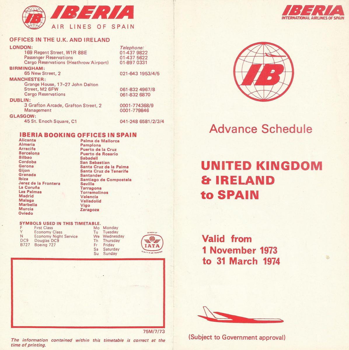 Airline memorabilia: Iberia (1973/74 + 1975), Reino Unido / Irlanda