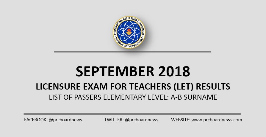 LIST: A-B Passers September 2018 LET Results Elementary