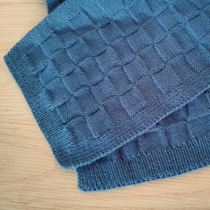 Écharpe damier tricot - Hello c'est Marine - Chat tricote par ici