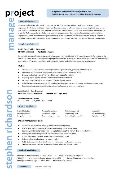 Project Manager Sample Resume Sample Resumes