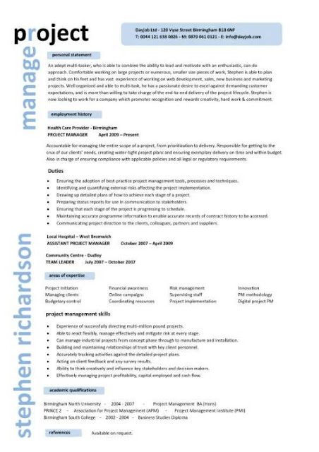 project manager sle resume sle resumes