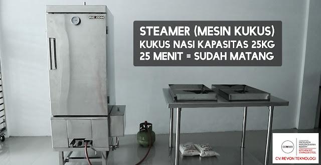 Masak Nasi Menggunakan Steamer Kapasitas 25Kg Beras