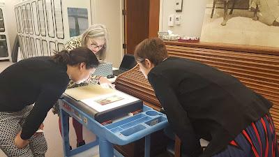 Examining a Whistler work using a light box