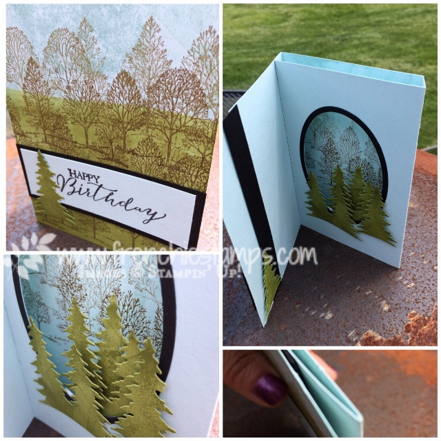 Lovely as a Tree, Card Front Builder Thinlits, Shadow Box Card, Stampin'Up!, Frenchiestamps,