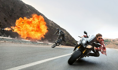 A Still from the bike chase sequence in Mission: Impossible 5, Directed by Christopher McQuarrie