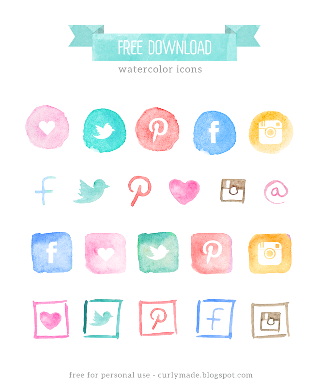free watercolor social media icons blog restyle   curly