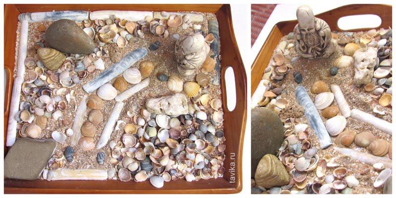 детская поделка из камней и песка