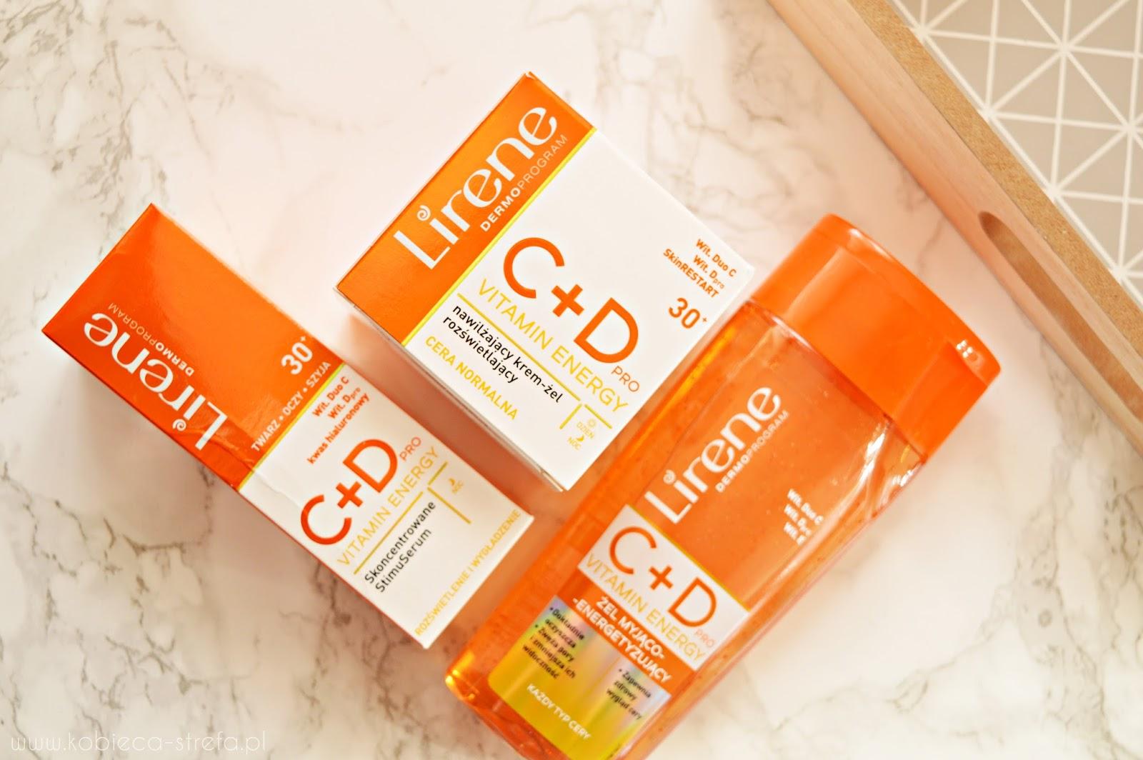 Witaminowa bomba od Lirene - C+D pro Vitamin Energy: skoncentrowane StimuSerum, nawilżający krem-żel rozświetlający oraz żel myjąco-energetyzujący do twarzy