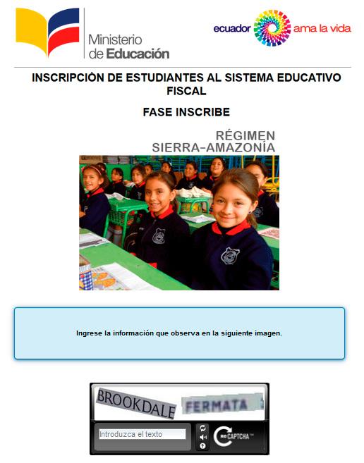 Inscripciones Régimen Sierra Amazonía  Ministerio de Educación del Ecuador 2017 2018