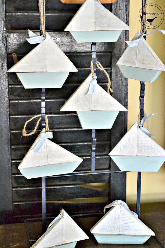 Summer sailboat ornaments made from scrap wood