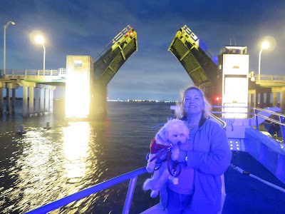 Passing underneath the drawbridge as we cruise the harbor on our Doggie Sunset Cruise!  Captain Lou's Fleet of boats in Freeport, Long Island, NY  #dogfriendly