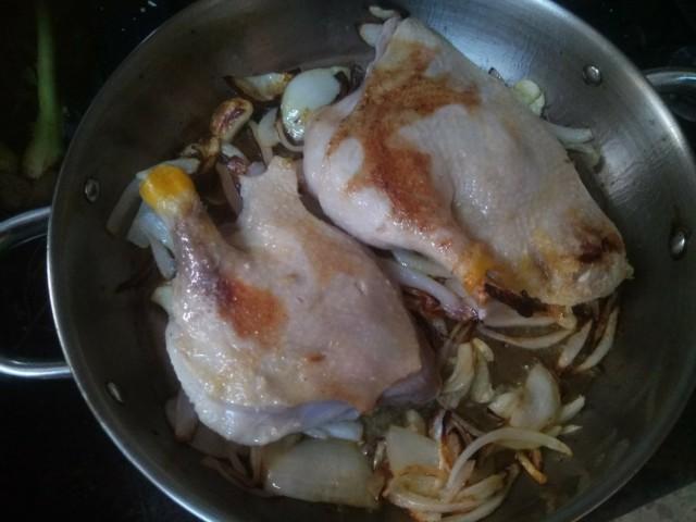 מתכון לכרעי ברווז ברוטב שמנת וחרדל