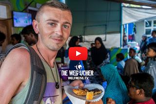 Arkadij beim Party feiern auf den Malediven, Weltreise, Party mit Einheimischen