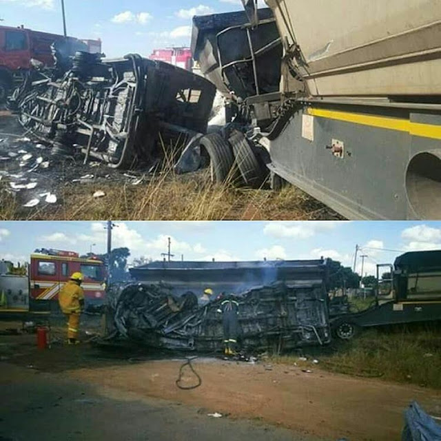 20 school children and a driver burnt to death in minibus crash in South Africa