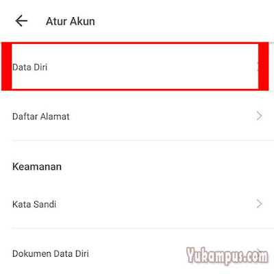 pengaturan data diri tokopedia