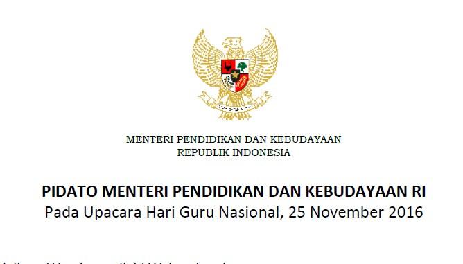 Teks Pidato Mendikbud Pada Upacara Hari Guru Nasional 25 November 2016