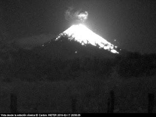 Explosion sur le volcan Momotombo, 17 février 2016 soir