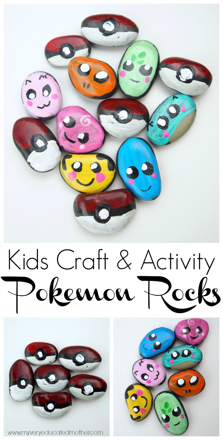Share in the Pokemon craze by creating these colorful character rocks to hide and seek!