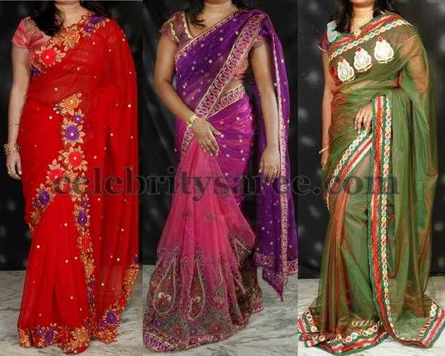 Border Heavy Butti Red Bridal Saree Work