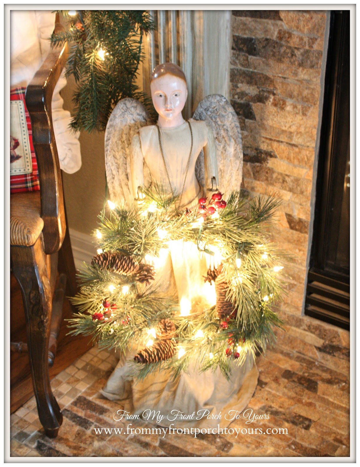 Santos Cage Doll-French Farmhouse Vintage Christmas Mantel- Ballard Designs-From My Front Porch To Yours