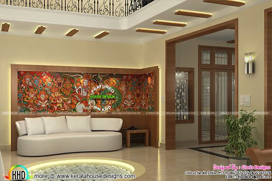 Mural wall art in living room interior