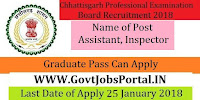 Chhattisgarh Professional Examination Board Recruitment 2018 – Assistant, Inspector