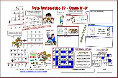 Retos matemáticos, Desafíos matemáticos, Problemas matemáticos, Problemas de lógica, Problemas de ingenio, Criptoaritméticas, Alfaméticas, Jeroglificos