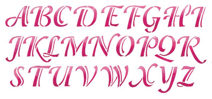 Calligraphy alphabet stencils