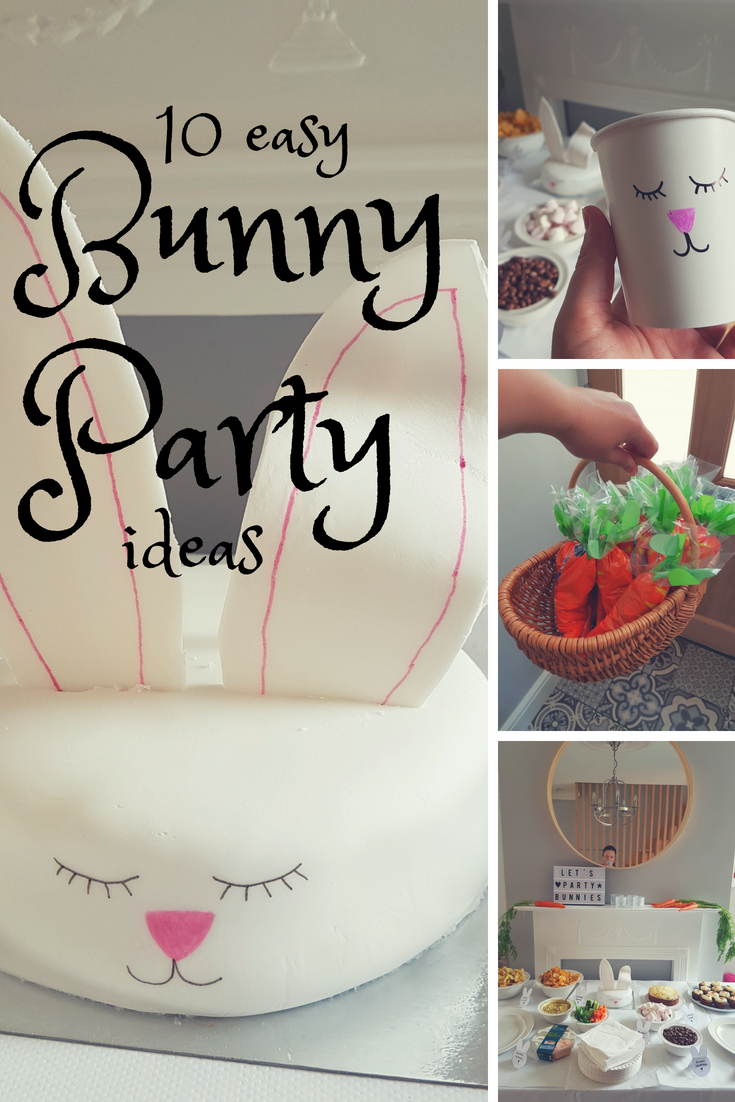 Loads of simple and quick ideas for hosting a bunny party - including decorations, party bags, easy bunny-themed food and a simple cake decorating idea. Great ideas for a bunny birthday or a Easter themed party.