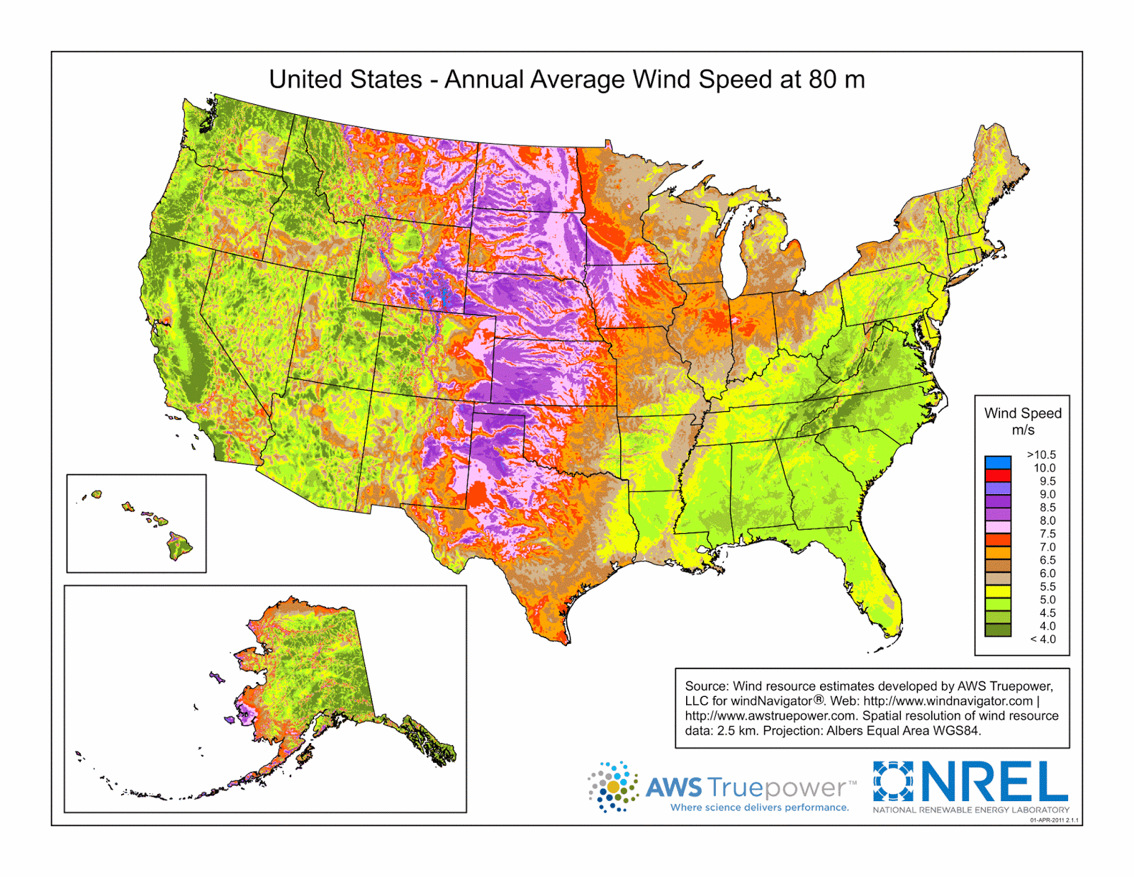 United States: Annual Average Wind Speed