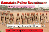 Karnataka State Police Recruitment 2018– 15 Scientific Officer