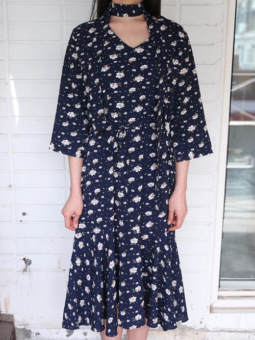 Floral Dropped Waist Midi Dress